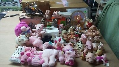 lot of 45 pig items: figurines, statues, and s&p shakers