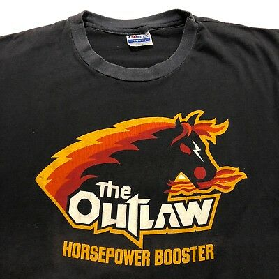 VINTAGE 80s Outlaw Horsepower Booster T Shirt RETRO 5050 Auto Racing Cars