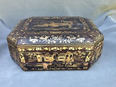 LARGE 19th-Century ANTIQUE Chinese Export Lacquered Wood Sewing Caddy Chest/Box
