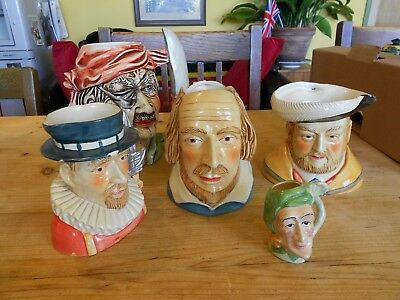 5 Vintage Ceramic Toby Jugs Shakespeare, Beefeater, Pirate, Henry VIII, Jester