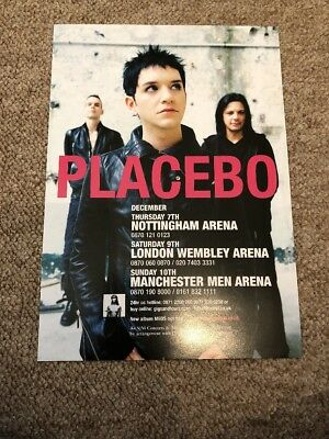 placebo uk tour concert flyer size a5
