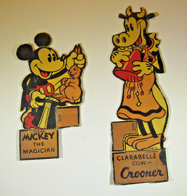 Vintage 1930s Post Toasties Cereal Walt Disney Cut Outs Magician Mickey Cow Clar