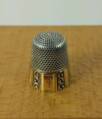 Beautiful Vtg. Antique Sterling Silver Gold Thimble Stern Brothers 5 Panel Type