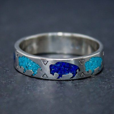 Sterling Silver Stamped Buffalo Band Ring with Turquoise & Lapis Lazuli inlay
