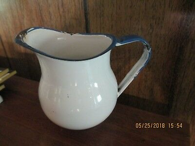 BLUE & WHITE PITCHER OR CREAMER SMALL OLD VINTAGE GRANITEWARE Enamelware