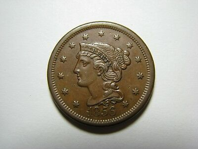 1856 Large Cent - Slanted 5 <> About Uncirculated (AU)