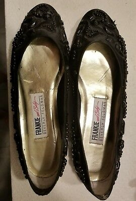 80s Frankie and Baby Size 8B Black Beaded and Embroidered Flats