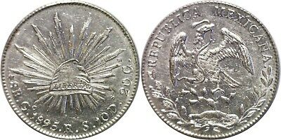 1895 GoRS Mexico 8 Reales Silver KM# 377.8 Almost Uncirculated