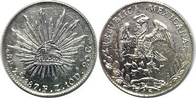 1887 ZoFZ Mexico 8 Reales Silver KM# 377.13 Almost Uncirculated Details