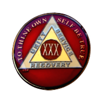 AA 30 Year Chip Red TriPlate Alcoholics Anonymous Medallion Sobriety Coin