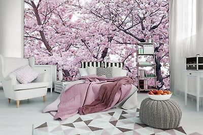 Wall Mural Photo Wallpaper Non-woven decor for bedroom Pink flowers tree Floral