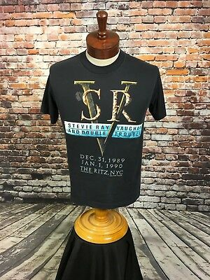 VTG Stevie Ray Vaughn &Double Trouble Concert Tour T Shirt 1989-90 In Step MED