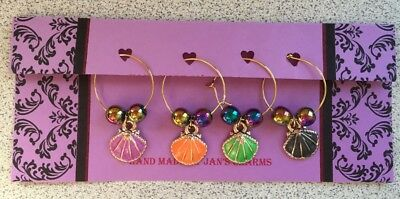 Wine Glass Charms - 4 Gold Plated Enamel Shell Charms with Hemalite Beads