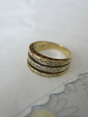 Bague 3 Anneaux Or Jaune 14K Diamants 7G Yellow Gold Diamonds Ring Taille 53