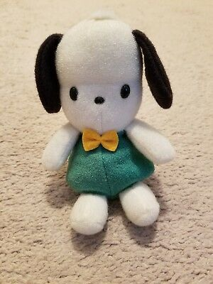 Small 5 Inch Pochacco Beanie Toy (Green with Yellow Bow Tie)