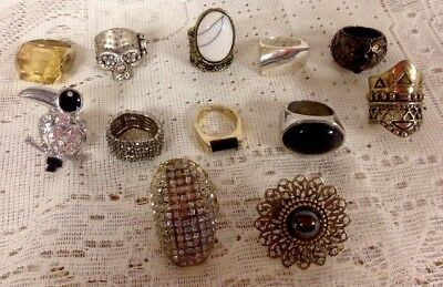 VINTAGE Ring Lot Of 12 , Mixed Lot Cocktail Rings