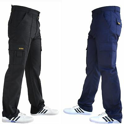 Mens Cargo Combat Trousers Work Wear Super Pocket Size All 28 to 52 Navy Black