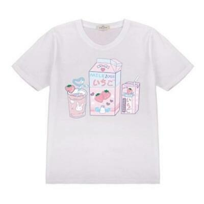 Women Cartoon Short Sleeve Sweet Loose Cute Casual White Cotton Printing T-shirt