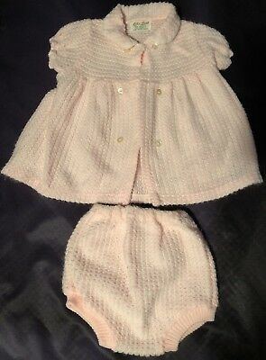 Vintage Pink Cable-Knit Short Sleeve Sweater W/Bottoms By Little Lamb Size 18 Mo