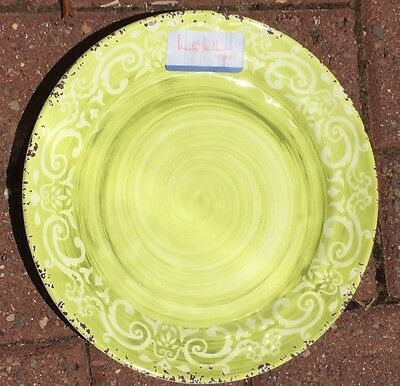 Nicole Miller Lime Green Rustic Medallion MELAMINE Dinner Plates Set 4 Il Mulino : printing on dinner plates - Pezcame.Com
