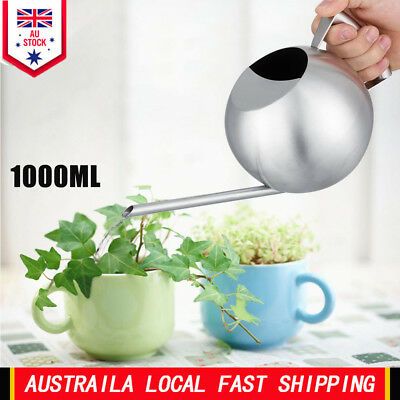Stainless Steel Watering Can 1000mL Long Mouth Round Sprinkling Pot for Plant AU