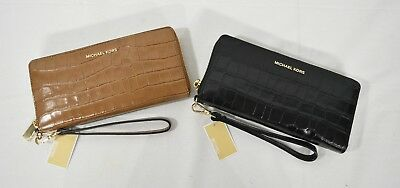cfe92bcbbe72 Michael Kors Money Pieces Crocodile Embossed Leather Continental Wallet /Wristlet