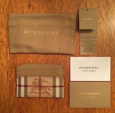 NEW! Burberry Izzy Haymarket Check & Brown/Tan Leather Card Case/Holder Wallet