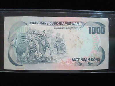 Vietnam South 1000 Dong 1972 P34 Elephant Viet Nam 12# Paper Money Banknote