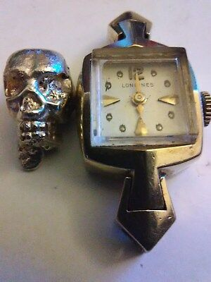 Solid 14k gold skull running solid 14k gold longines watch for scrap? 11.47g