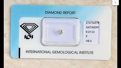 Diamante Natural Color F / Claridad VS2 / Certificado IGI 0,31ct