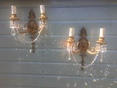 Fabulous Pair Of Large French Vintage Gilt Brass Lead Crystal Wall Lights