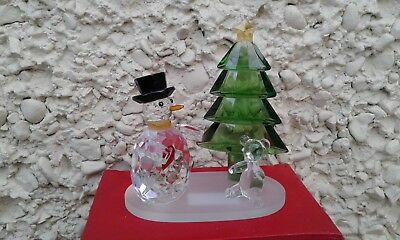 "Galway Living Large Crystal Snowman Cristmas Scene MG05 New in Box H 5"" × 4,25"""