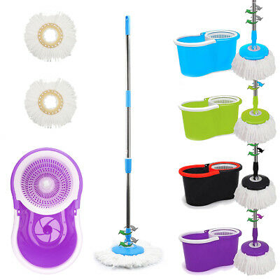 Modern 360°Floor Spinning Mop Bucket Set With 2 Microfiber Rotating Dry Heads UK