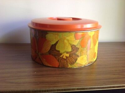 RETRO COLLECTABLE VINTAGE METAL WILLOW ORANGE CAKE FLOWER TIN 60's 70's CANISTER