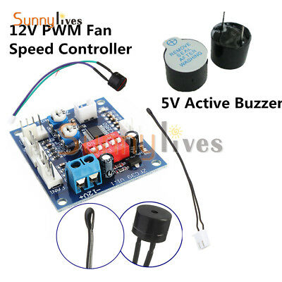 12V PWM Fan Temperature Speed Controller PC CPU Module High Temp Alarm 5V Buzzer
