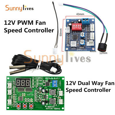 12V Dual Ways / PWM PC CPU Fan Digital Temperature Control Speed Controller NEW