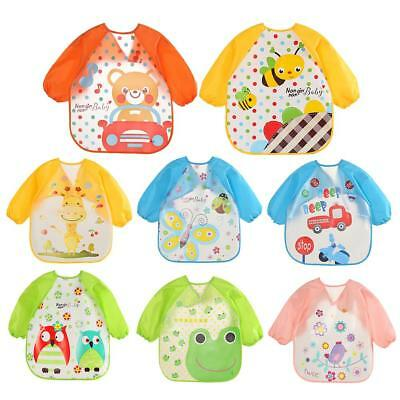 Cartoon Waterproof Unisex Baby Feeding Long Sleeve Art Apron Animal Bibs