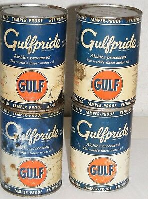 GULFPRIDE GULF MOTOR OIL CAN Lot 4 VTG  AUTHENTIC QTS. Empty 1940- 50s