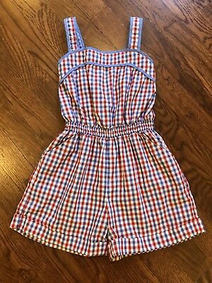 Orient Expressed Kid Girls Picnic Romper Size 6 Kelly Blue Red Plaid Adjustable