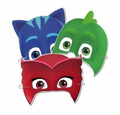 PJ Masks x 6 Face Mask Superhero Partyware Children's Party Fancy Dress