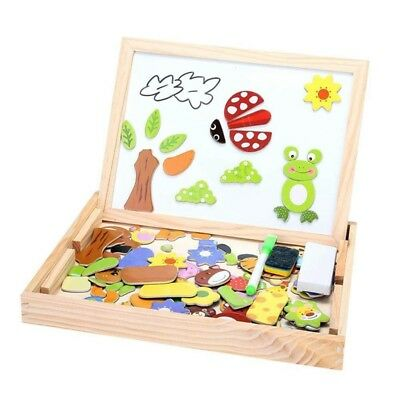 Childrens Wood Puzzle Multifunction double sided magnetic Drawing board puz T6A1