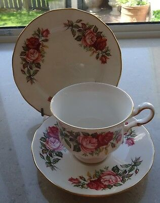 Queen Anne Trio White With Gold Trim With Pink & Red Roses Design.