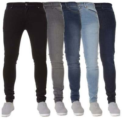 Boys New Enzo Designer Stretch Skinny Slim Fit Denim Chino Jeans Blue Black BNWT