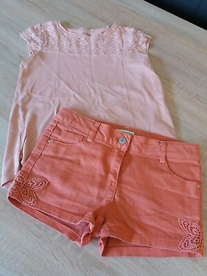 vertbaudet Shorts kurze Hose T-Shirt Top Jeans Set Gr. 134