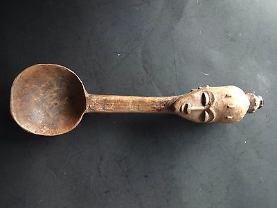 "Vintage 71/2"" Wood African Woman spoon"
