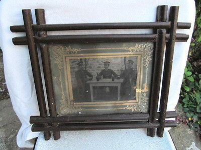 Antique Primitive Hand Carved Big Wooden Hanging Frame Old Photo Of Soldiers