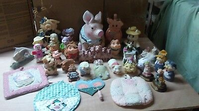 lot of 25 pig items,cookie jar,pig light,precious moments pig, and figurines