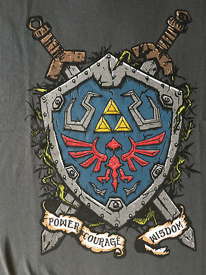 Teefury T-shirt - link shield ( power, courage & wisdom ) zelda Grey