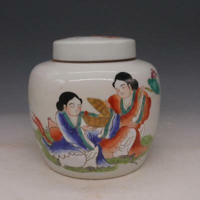 China old antique Porcelain qing tongzhi famille rose hand painting tea caddy