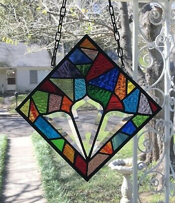 Suncatcher Abstract Stained Glass Suncatcher with Bevels 8x8 square